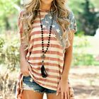 Women American Flag Loose 4th Of July short sleeve T-shirt Tops Blouse Plus Size