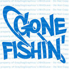 Gone Fishin' Vinyl Decal with Fish Hook Sticker Fishing River Lake Creek Ocean