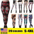 Skull Print Pants Women High Waist Fitness Leggings Running Gym Stretch Trousers
