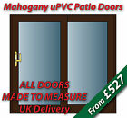 Mahogany uPVC Sliding Patio Doors | BRASS handles & GOLD spacer bars | NEW
