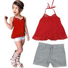 2PCS Toddler Kids Baby Girl Lace Blouse Tops+Denim Shorts Pants Clothes Outfits