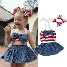 Toddler Kids Baby Girl Tops+Tutu Skirt+Headband Outfit Clothes Swimwear Sunsuit
