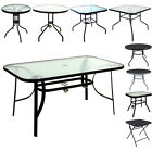 Marko Glass Top Tables Metal Frame Legs Garden Outdoor Indoor Bistro Cafe