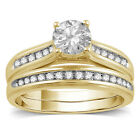 Bridal Ring Set For Women's Wedding Engagement Round White CZ 14K Yellow Gold