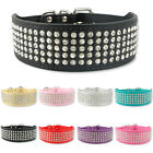 Rhinestone PU Leather Dog Collars 5 Row Diamante Bling for Large Dogs 5cm wide