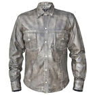 Xelement BXU85200 Urban Armor Comfort Mens Grey Leather Shirt with Gunmetal Sna