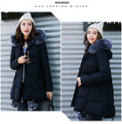 Women's warm winter Jacket long Down Cotton Parka Fur Collar Hooded trench coat