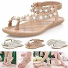 Women Bohemia Beaded Flat Casual Shoe Beach Sandals Thongs Slipper Flip Flops A