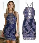BLUE KEYHOLE BUST FLORAL LACE EMBROIDERY SCALLOPED HEM PARTY HOLIDAY DRESS 6-12