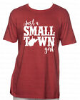 Red Unisex T-Shirt Vinyl Lettering - Small Town Girl West Virginia WV