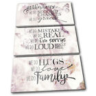 Shabby Chic Family Rules Vintage TREBLE CANVAS WALL ART Picture Print