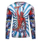 Logas Men's Fashion 3D Printed Long Sleeve T-shirt Funny Printed Round Neck