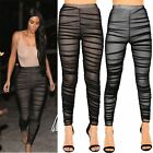 Women High Waist Ladies Skinny Fitted Pants Bandage Mesh Ruched Trousers Legging