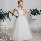 2017 Hot Sale Girl Ball Gown with Pink Ribbon Bow First Communion Dresse