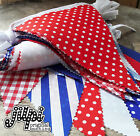 3m-12m JILPI RED WHITE BLUE FABRIC BUNTING / BANNER, GINGHAM STRIPED PLAIN, NEW!