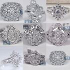 New Fashion Women's 925 Silver White Sapphire Wedding Engagement Ring Size 6-10