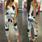 2PCS Womens Casual Geometric Print Blouse Cami Tops + Long Pants Clothes Set New