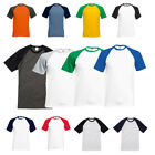 New Fruit of the Loom Mens Short Sleeve Cotton Baseball T Shirt 7 Colours S-XXL