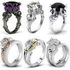 New Fashion Women's Skull 925 Silver White Sapphire Wedding Engagement Ring Set