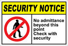No Admittance Beyond This Point Check Security OSHA / ANSI Aluminum METAL Sign $38.99 USD