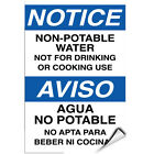 Notice Non Potable Water Not Suitable For Drinking & Cooking LABEL DECAL STICKER