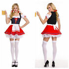 Womens Red Beer Maid Oktoberfest Bavarian Wench Ladies Fancy Dress Costume M-2XL