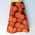 Brown Retro Daisy Print A Line Skirt - ladies size 18 - floral, flower, 70's