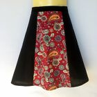 Black and Maroon Ladies A Line Skirt - sizes 8 - 18 avail - floral, paisley, red