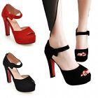 Womens Platform Ankle Strap Suede Open Toe Pumps High Heels Prom Chunky Sandals