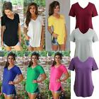 Women Plus Size T-shirt Solid V Neck Short Sleeve Long Casual Blouse Top P9P9