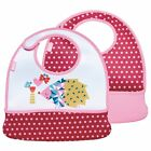 Built 2-Piece Mess Mate Toddler Bibs With Pockets - Pink Mini Dots & Hedgehog