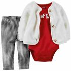 Carters Infant Girls 3 Piece Scotty Dog Set Plush Jacket Shirt Leggings Set