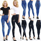 Women Ripped Knee Jeans Pants Denim Stretch Trousers Skinny Elastic Jeggings Usa