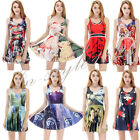 Sexy Woman 3D Print Costume Pleated Umbrella Dress Skirt Stretchy Star Wars Hot