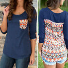 Fashion Women's Casual Long Sleeve T Shirt Printed Loose Tops VINTAGE Blouse NEW