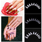500Pcs Transparent Stiletto Point Acrylic UV Gel False Nail Tip Marked Nail