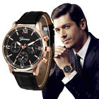 Retro Design Watch Mens Leather Band Steel Stainless Analog Quartz Wrist Watches image