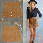 US! Womens Solid Stretch Waist Plain Faux Suede Flared Skater A-Line Mini Skirt