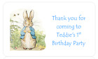 PERSONALISED STICKERS LABELS CHRISTENING FIRST BIRTHDAY PETER RABBIT ADDRESS 2