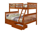 TWIN OVER FULL BUNK BED W/ OPTIONAL DRAWERS AND/OR TENT  - ESPRESSO