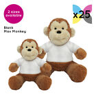 25 Blank Max Monkeys Soft Toys Plain White T-Shirt Transfer Sublimation Gifts
