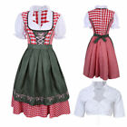 3pcs Dirndl Oktoberfest German Austrian Dress + Blouse apron Size S-2XL Costume
