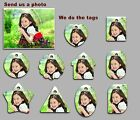 5 pack of Custom Made Plastic photo KeyTags with Split Ring -Standard