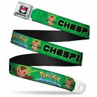 Pok Ball Full Color Pokmon & Y Chespin Poses Leaves Greens Webbing Seatbelt Belt