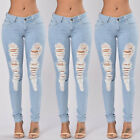 Women Skinny Ripped Pants High Waist Stretch Jeans Slim Pencil Denim Trousers