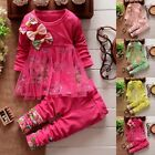 Toddler Kids Baby Girls Floral Clothes T-shirt Tops Dress Pants 2PCS Outfits Set