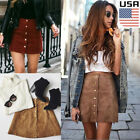 Women High Waist Lace Up Suede Leather Pocket Preppy Short Mini Skirts Dress Usa