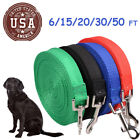 US 6/15/ 20/ 30/ 50 FT Dog Leash Long Obedience Nylon Pet Training Lead Rope HOT