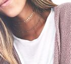 BOHO FESTIVAL GOLD TONE DISCS HEART THREE PART CHOKER NECKLACE SET - UK SELLER