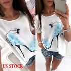 Women Loose Short Sleeve Casual Blouse Shirt Top Floral Summer T-shirt Plus Size